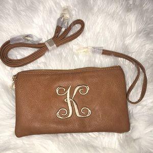 Carmel toned K monogrammed purse